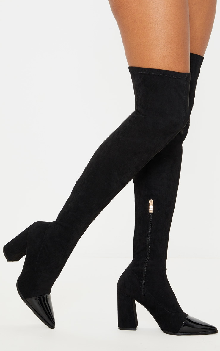 Black Block Heel Faux Suede Thigh High Sock Boot 2