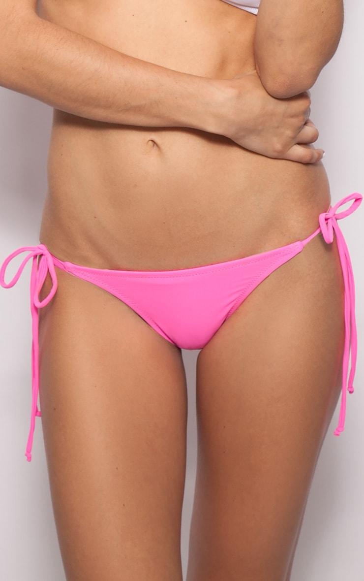 Sophia Pink Tie Side Bikini Bottoms 1