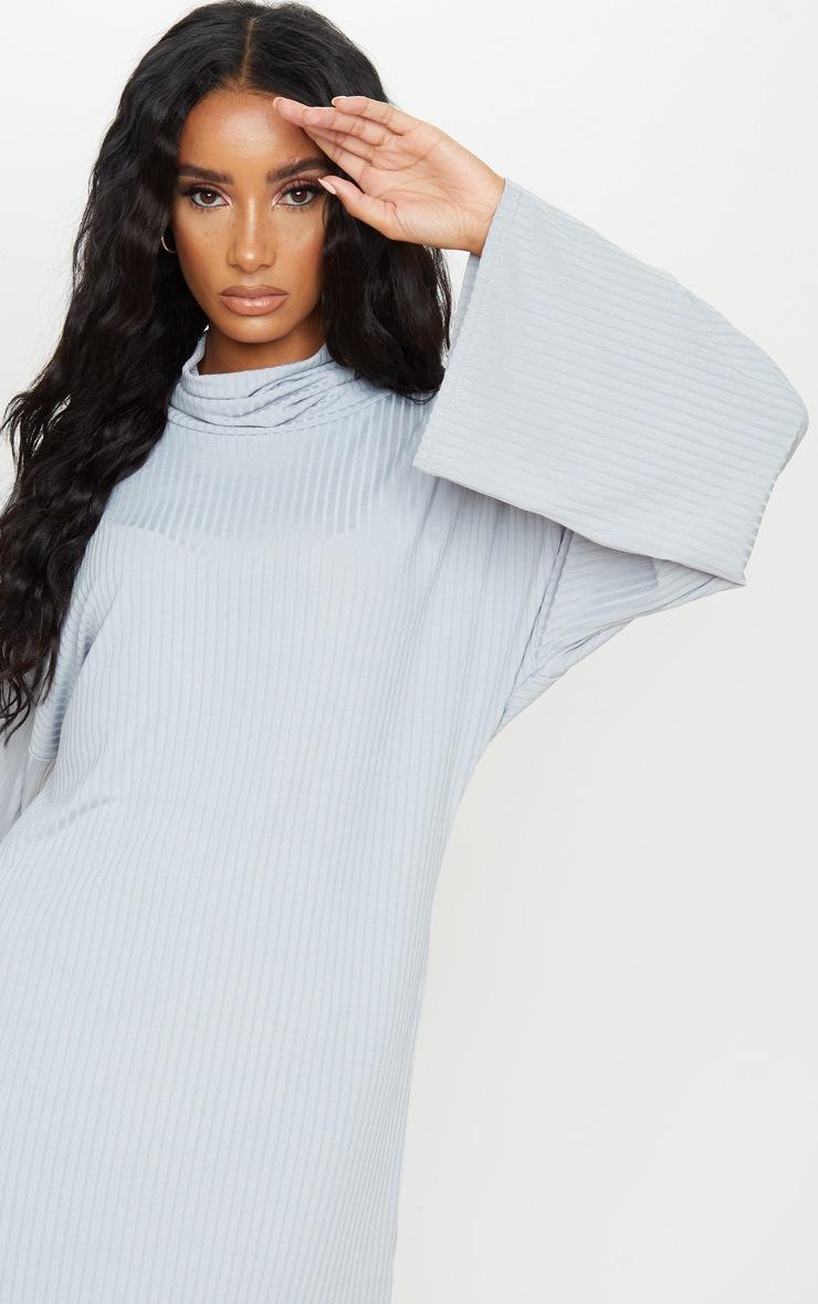 Grey Rib Flare Sleeve Jumper Dress 4