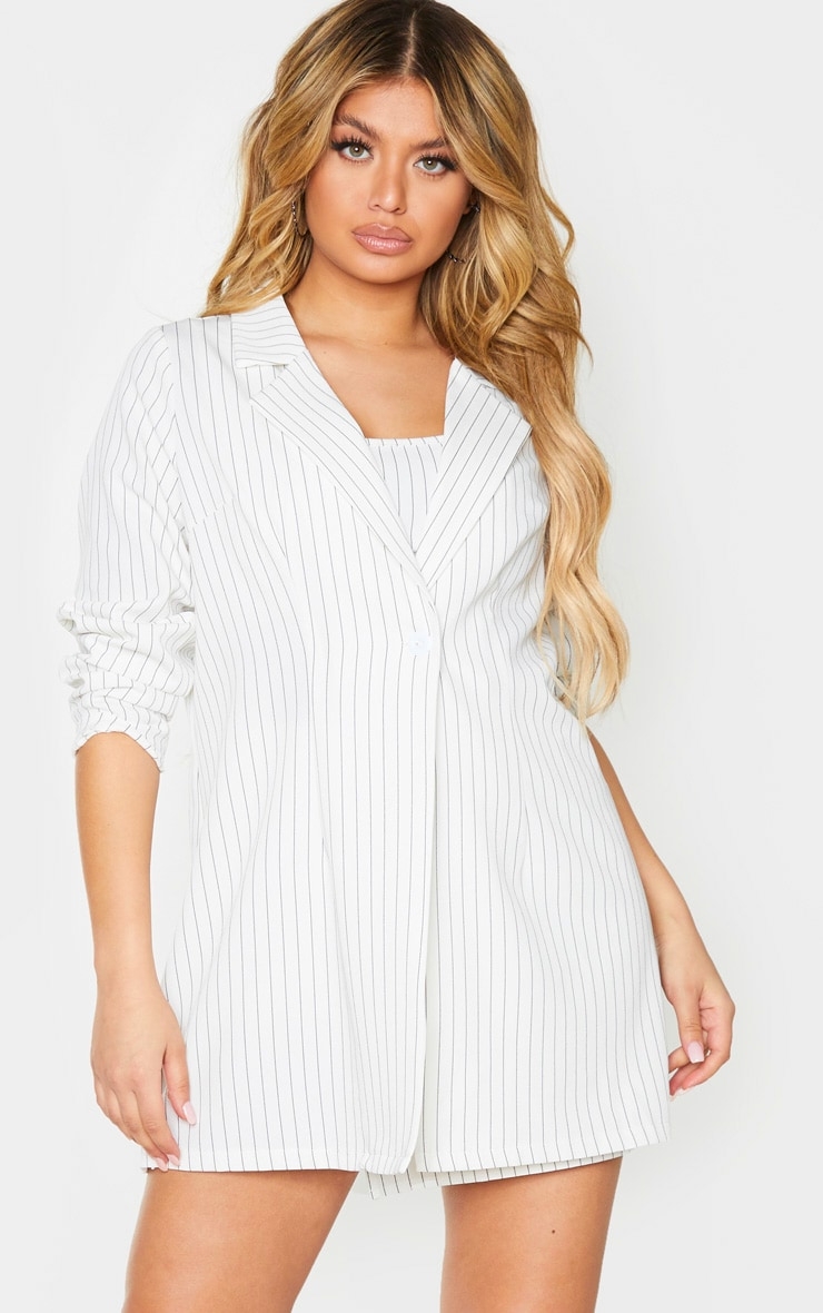 Cream Pinstripe Oversized Woven Blazer