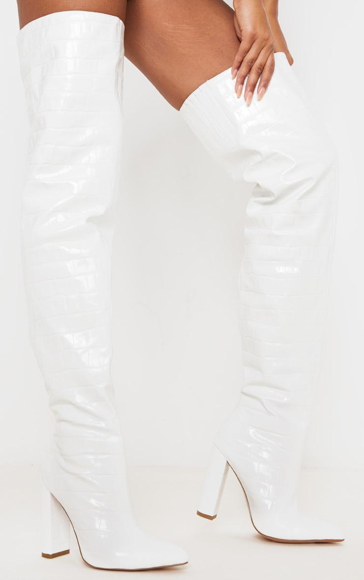 White Thigh High Point Block Heel Boots 2