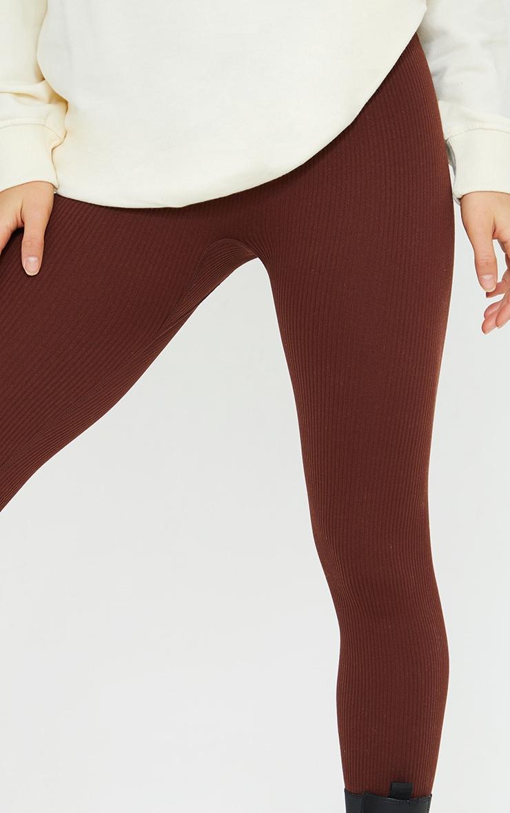 Petite Chocolate Structured Contour Rib Leggings 4