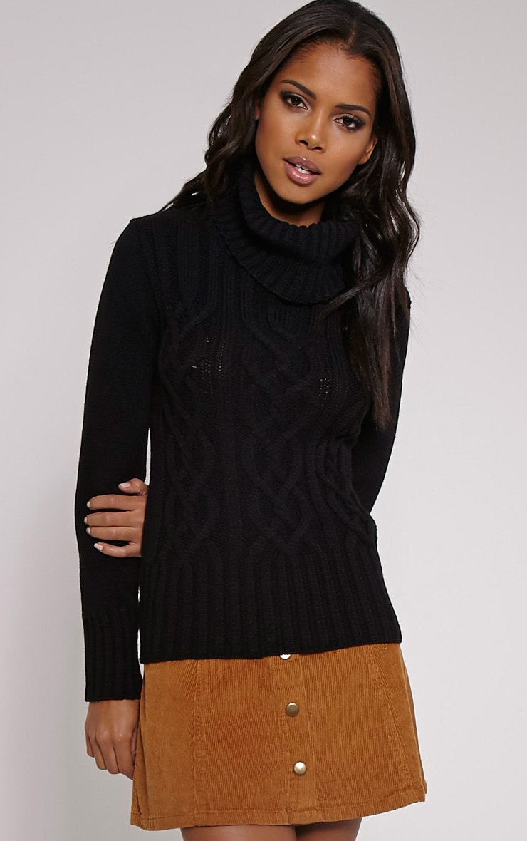Yonda Black Roll Neck Knitted Jumper 1