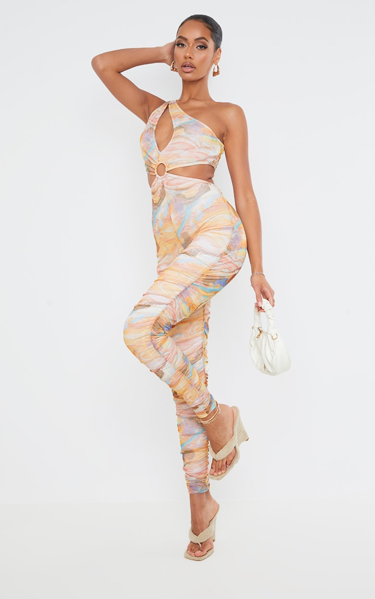 Multi Marble Print Ring Detail One Shoulder Mesh Jumpsuit 3