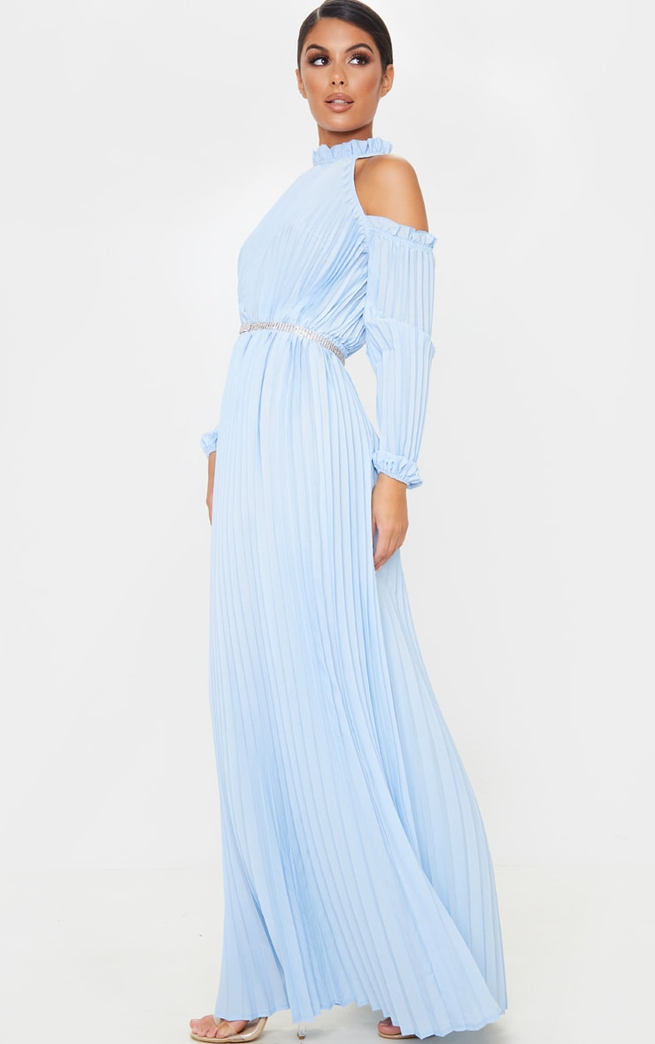 Dusty Blue Pleated Cold Shoulder Maxi Dress 1