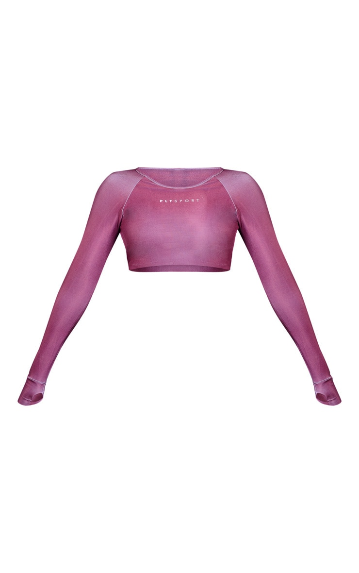 Mauve Elasticated Long Sleeve Cropped Gym Top 3