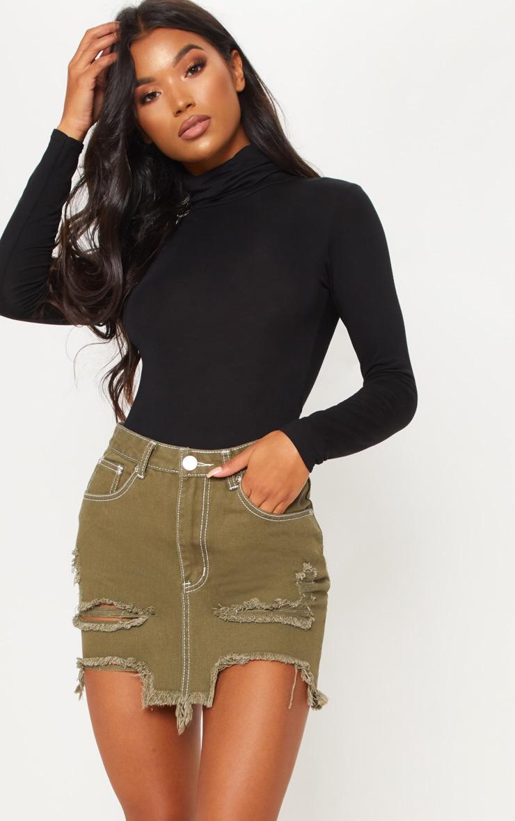 Khaki Contrast Stitch Distressed Denim Mini Skirt  1