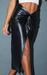 Black Faux Leather Twist Detail Front Midi Skirt 4