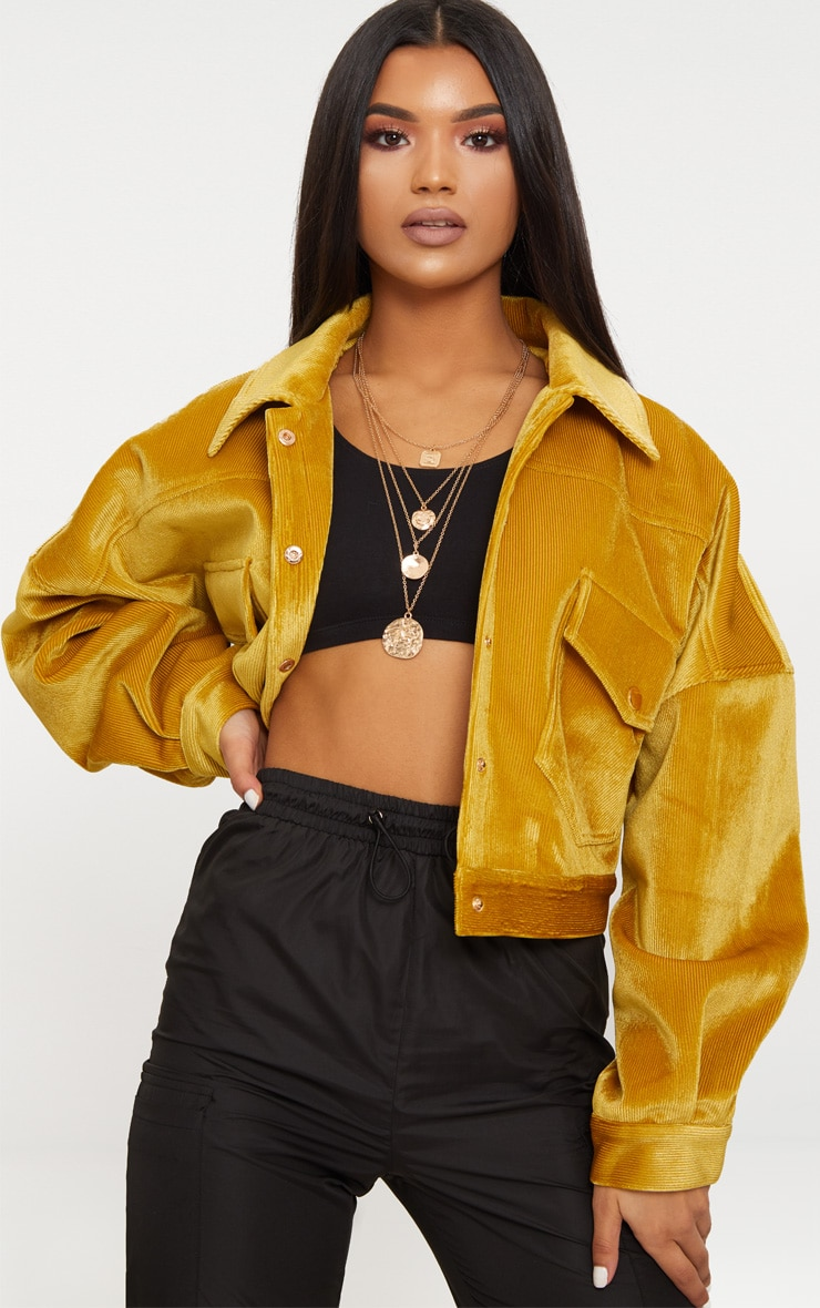 Mustard Cord Oversized Trucker Jacket