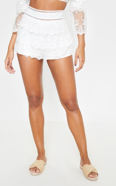 White Mesh Embroidered High Waisted Hot Pants