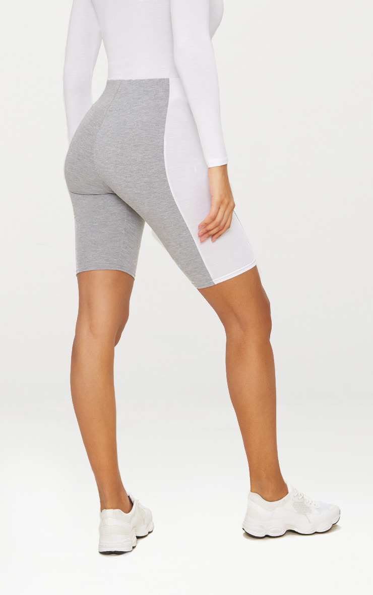 Grey Contrast Panel Cycle Shorts 4