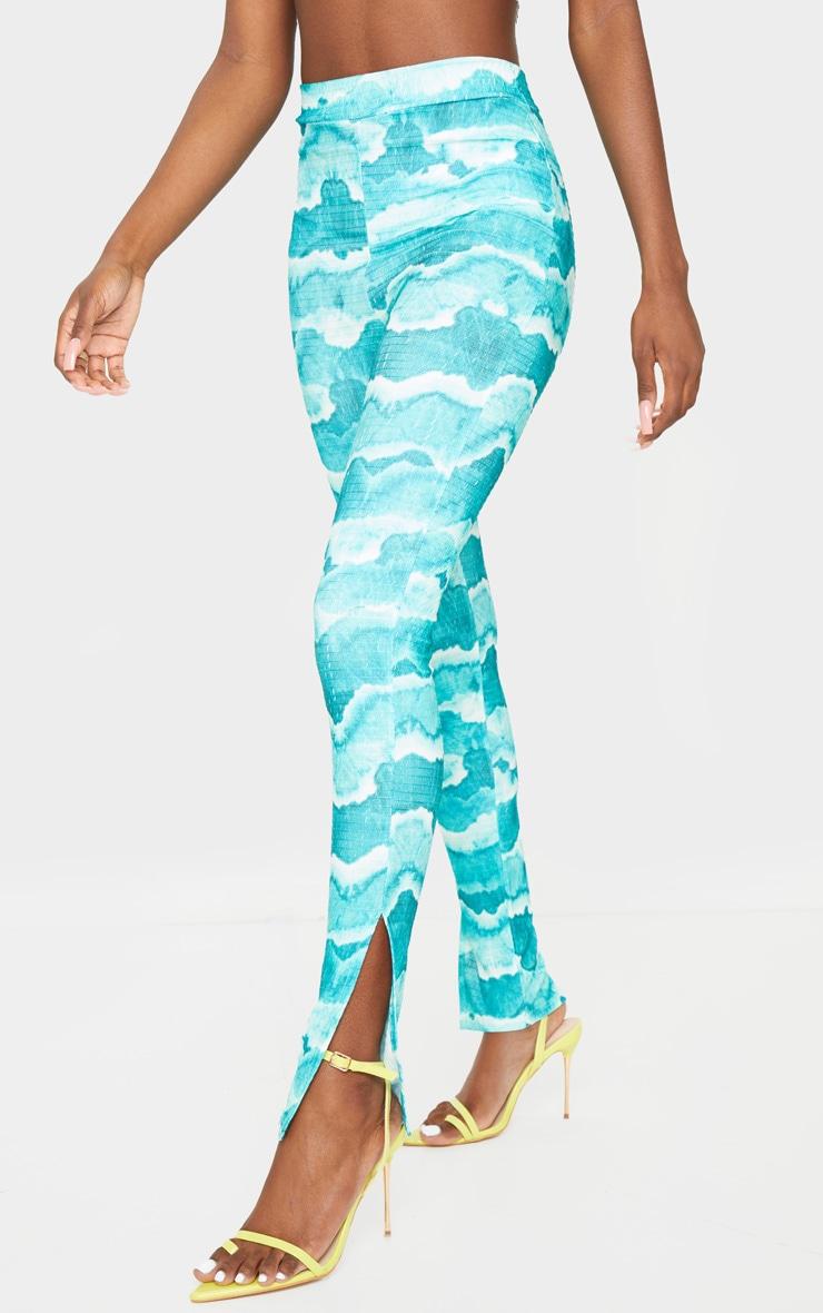 Tall Green Tie Dye Crinkle Split Hem Leggings 2