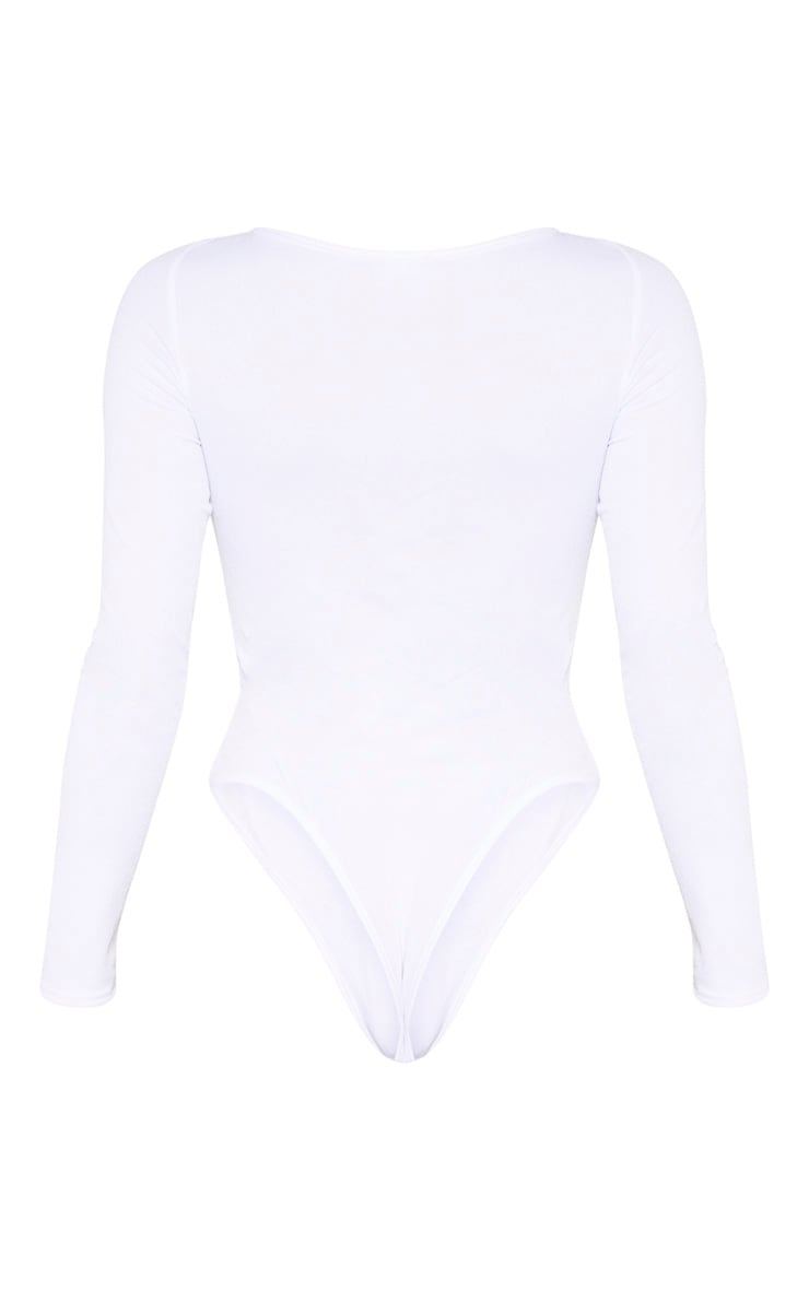 White Ruched Front Long Sleeve Bodysuit 6