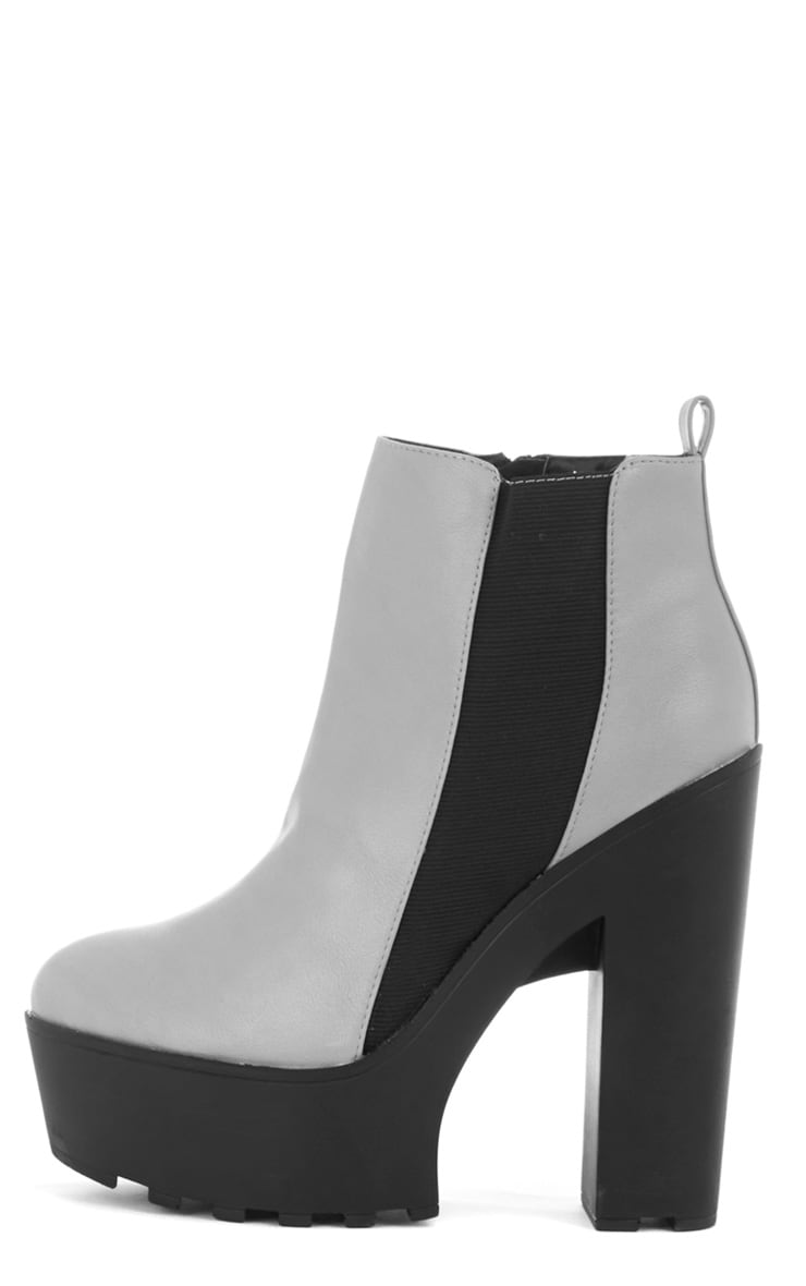 Asma Grey Elasticated Chunky Boots 1