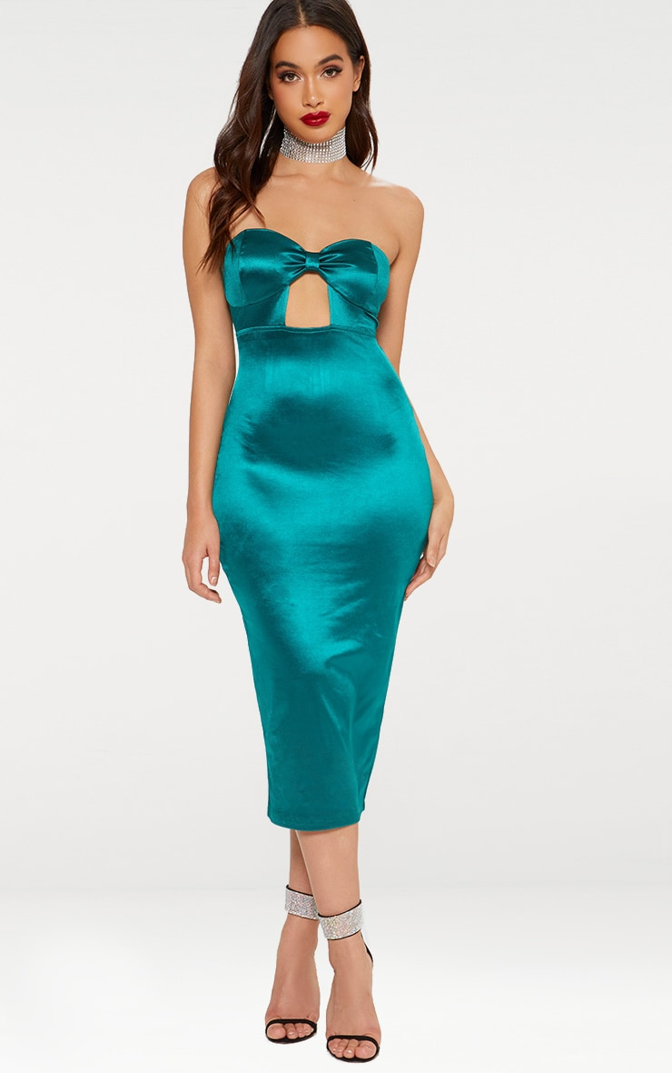 637673f3a82 Emerald Green Bandeau Bow Detail Satin Midi Dress image 1