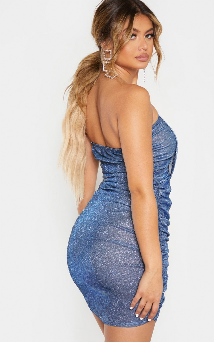 Blue Textured Metallic Glitter Ruched Bandeau Bodycon Dress  2