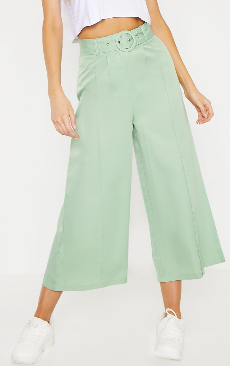 Tall Mint Circle Belt Wide Leg Culottes 2