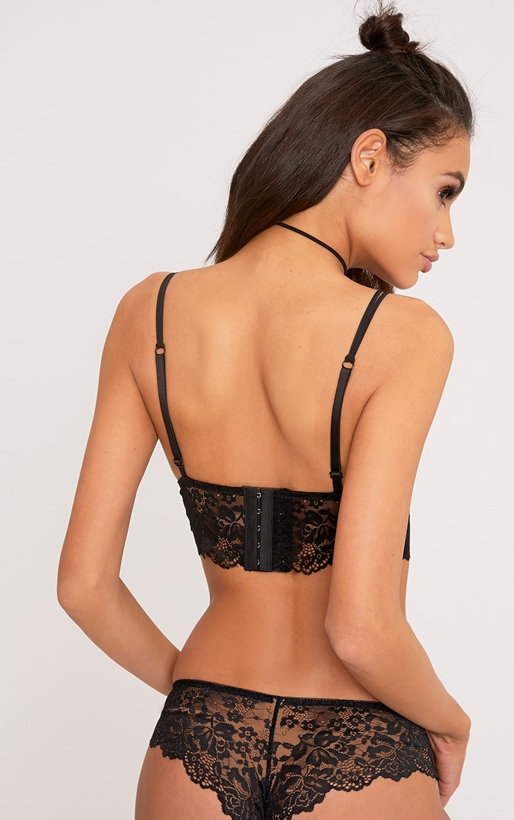 Lila Black Lace Bralet & French Knicker Set 2