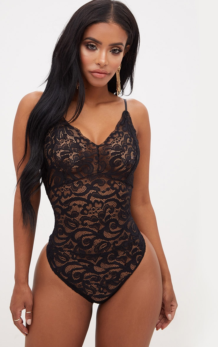 Shape - Body noir en dentelle transparente 1