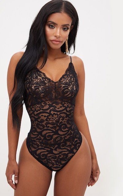 8ddf6c6c8 Shape Black Sheer Lace Bodysuit PrettyLittleThing Sticker