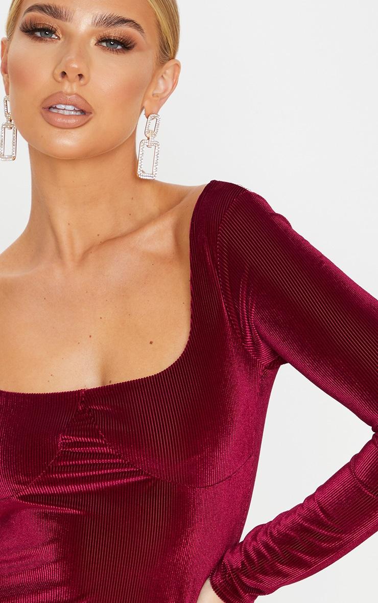 Burgundy Velvet Rib Cup Detail Long Sleeve Bodycon Dress 5
