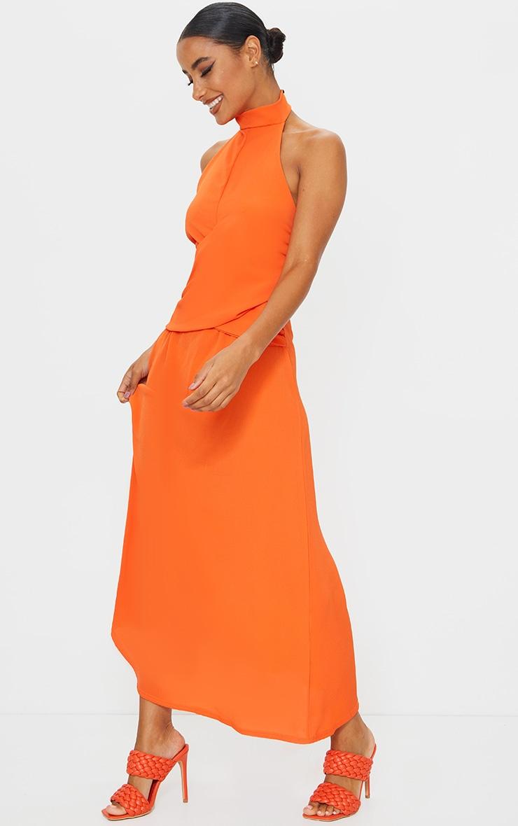 Tangerine Halterneck Wrap Front Maxi Dress 3