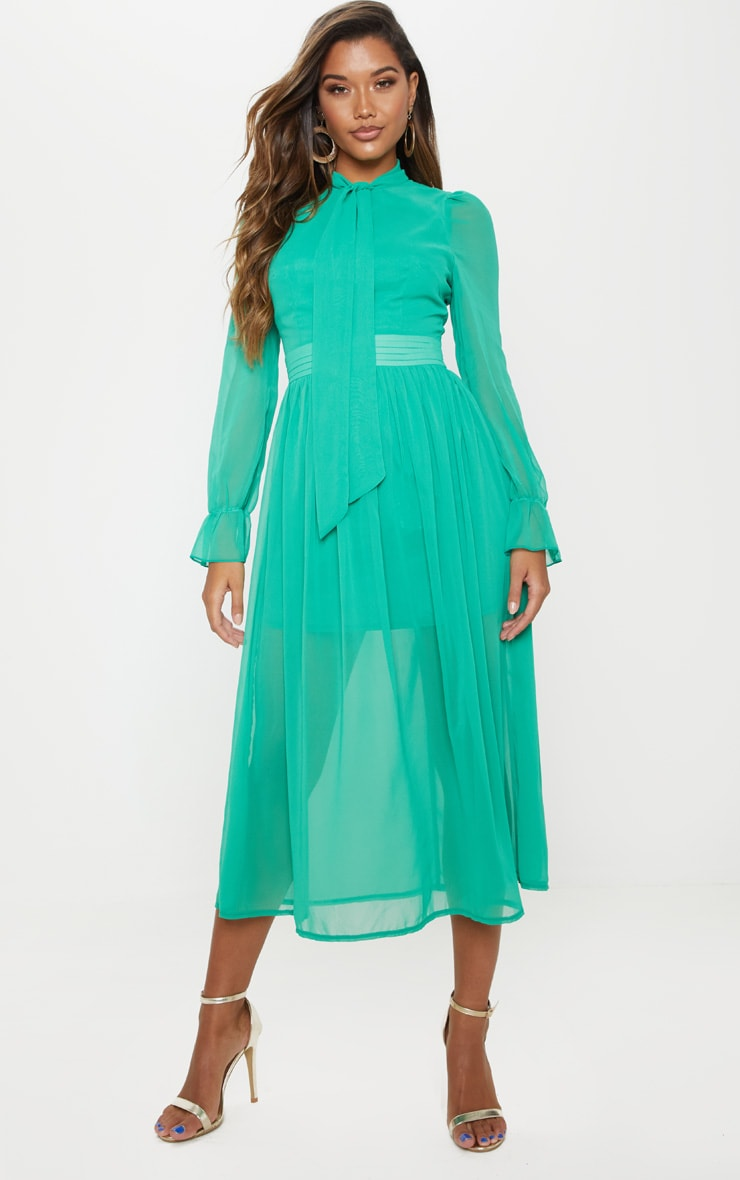 91df30ac4 Bright Green Chiffon Neck Tie Skater Midi Dress image 1