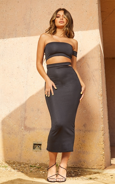 Black Second Skin Cut Out Midi Skirt 5e95ea8af