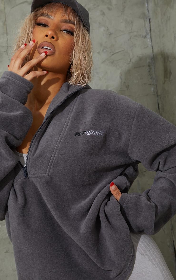 Charcoal Half Zip Hooded Fleece 4