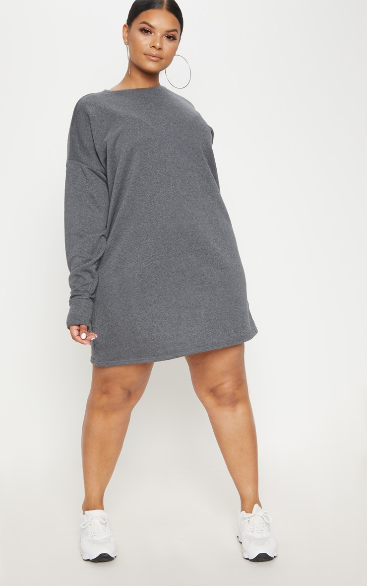 Plus Charcoal Oversized Sweater Dress 4