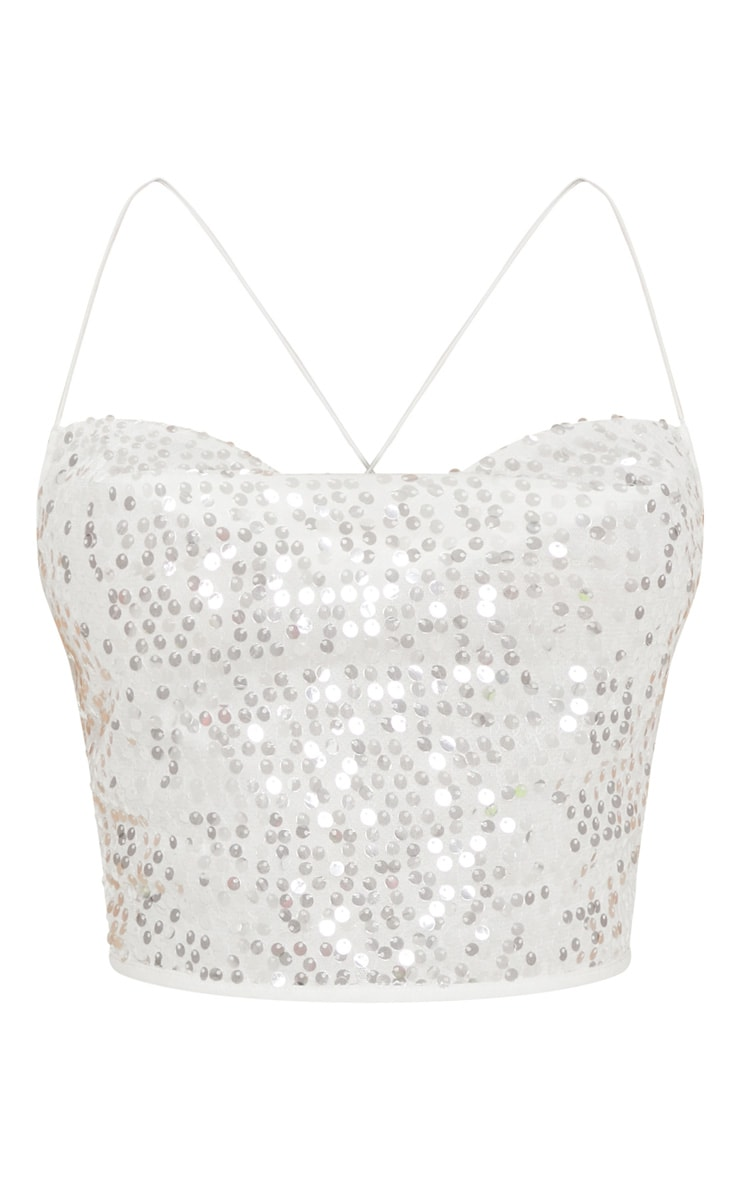 White Cowl Neck Sequin Strappy Crop Top 3