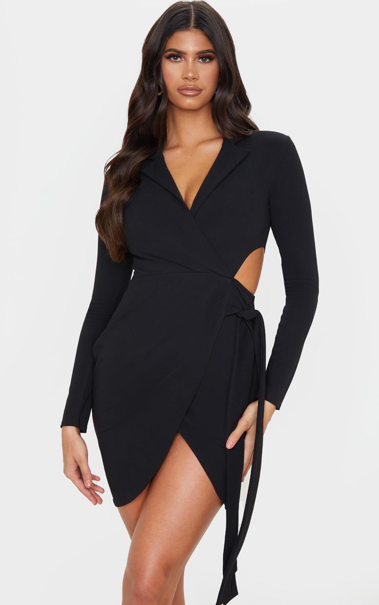 Black Long Sleeve Tie Waist Detail Blazer Dress 1