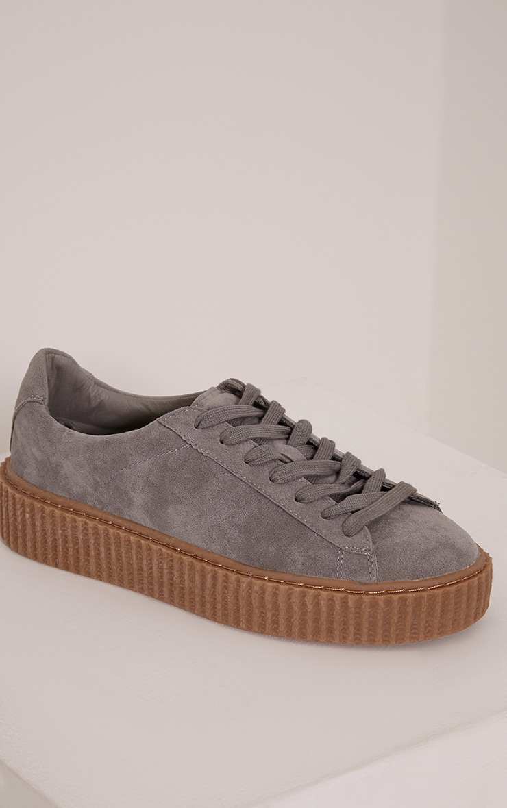 Cia Grey Faux Suede Creeper Trainers 9