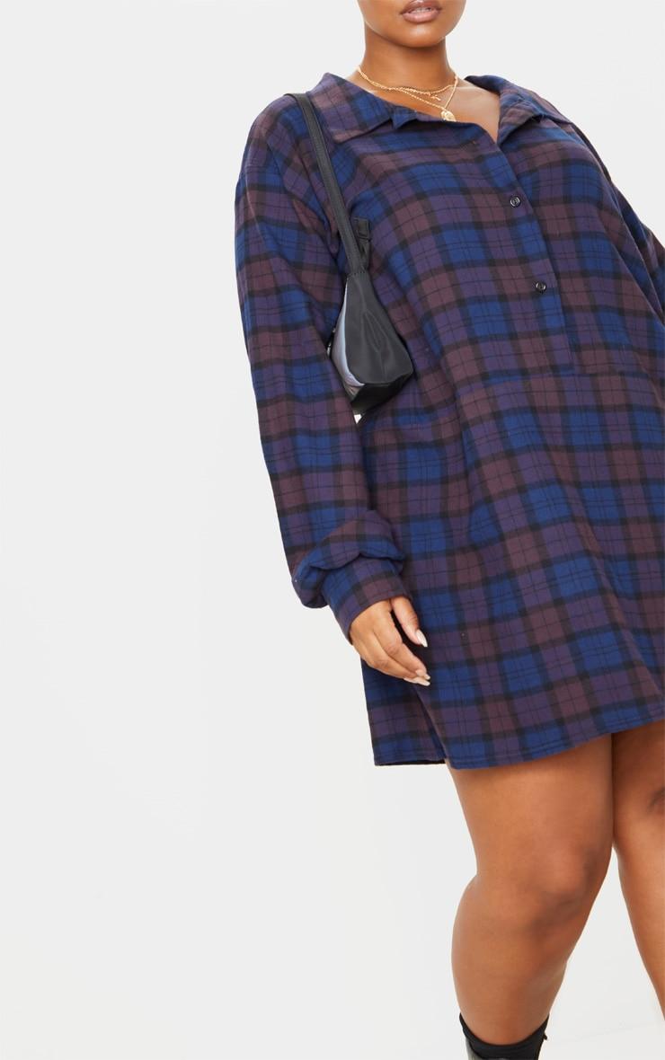 Plus Purple Oversized Check Shirt Dress 5
