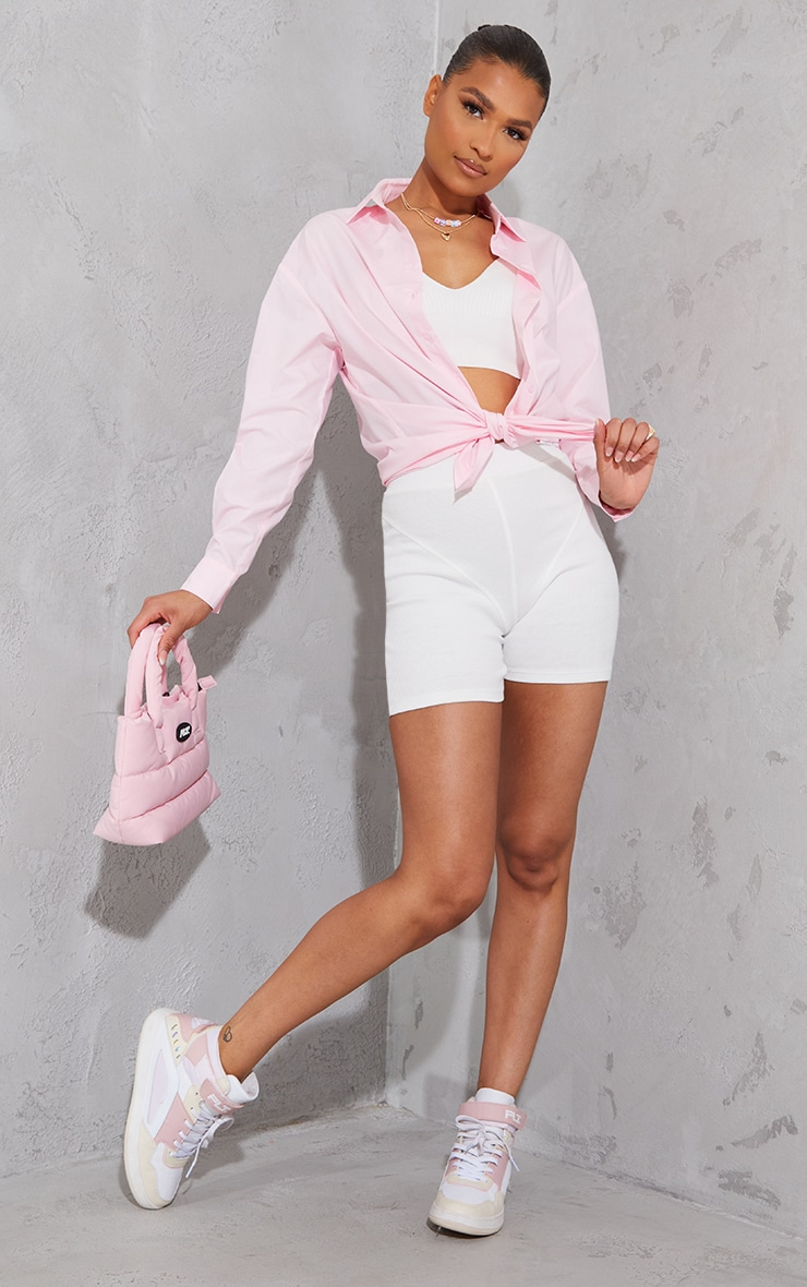 Baby Pink Button Cotton Oversized Shirt 3