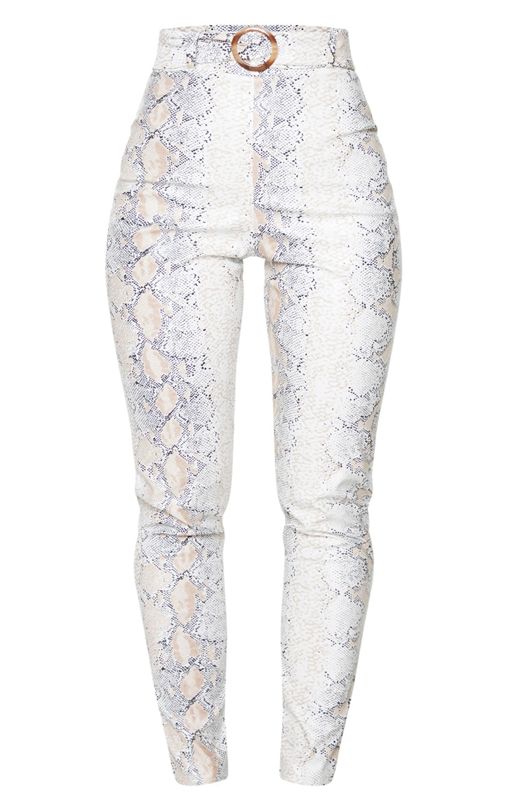 White Snake Faux Leather Belt Detail Pants 5