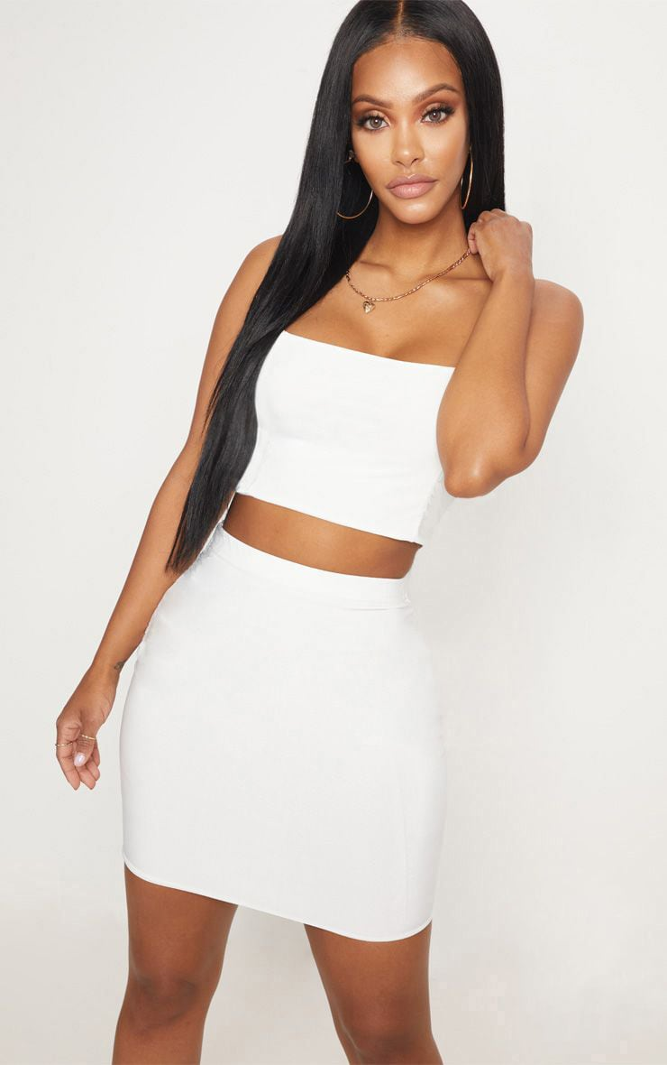Shape Ivory Slinky Mini Skirt 1