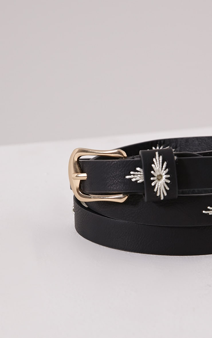 Nathalie Black Embroidered Skinny Belt 2