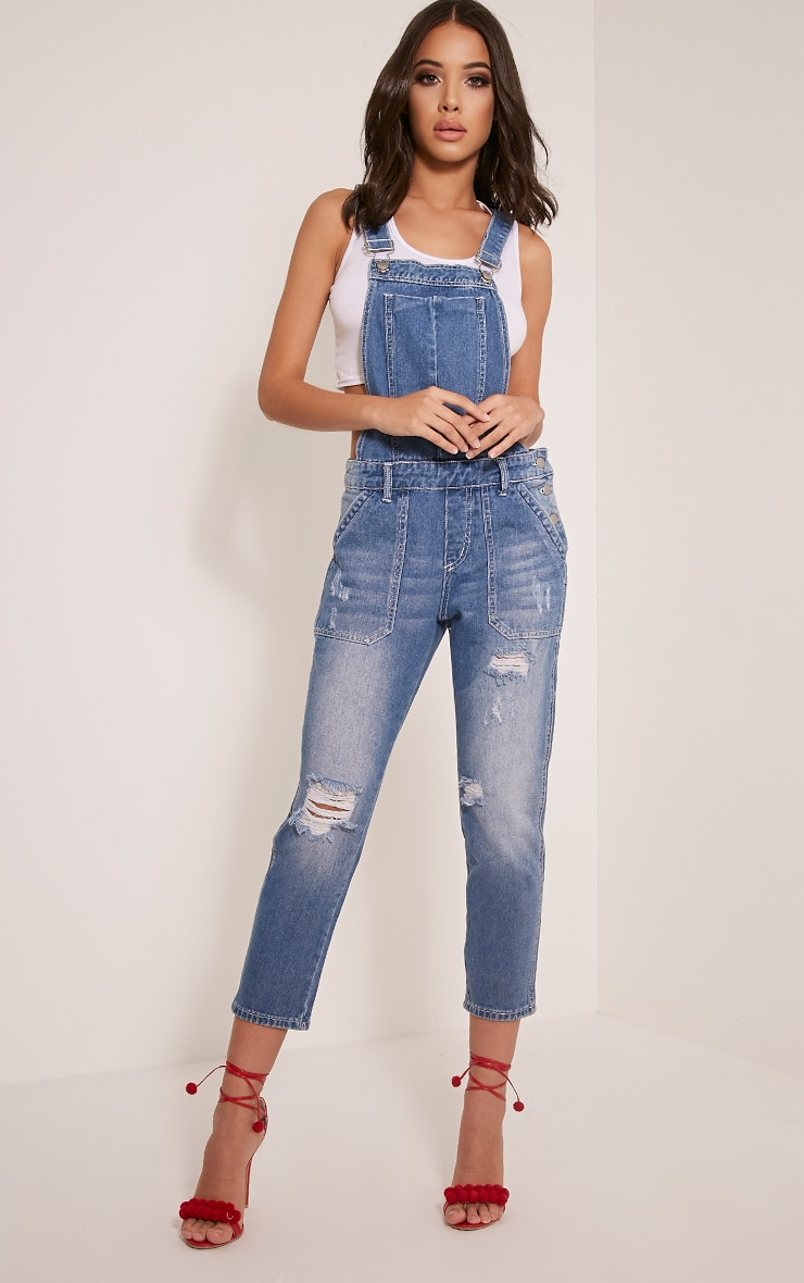 Carla Blue Mid Wash Extreme Rip Cropped Denim Dungaree 1