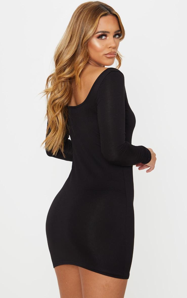 Petite Black Long Sleeve Jersey Mini Dress 2