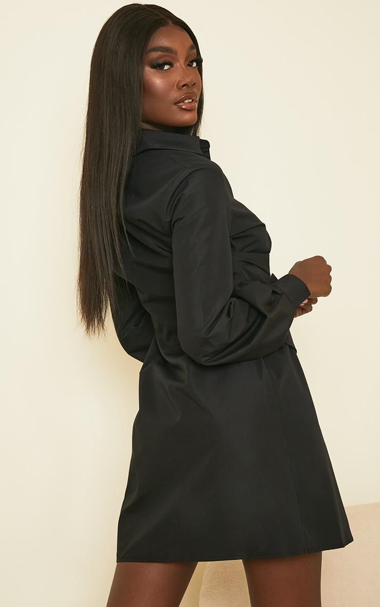 Tall Black Corset Detail Shirt Dress 2