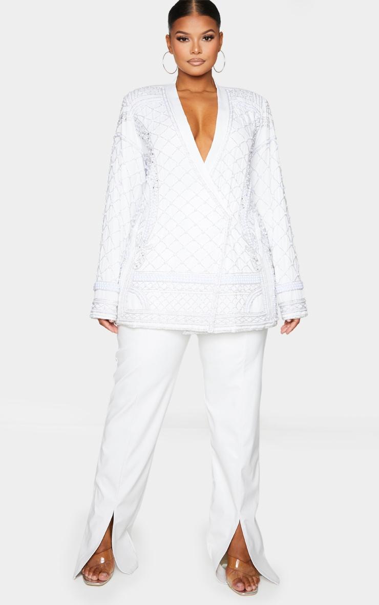 Plus White Premium Embellished Beaded Oversized Blazer 4