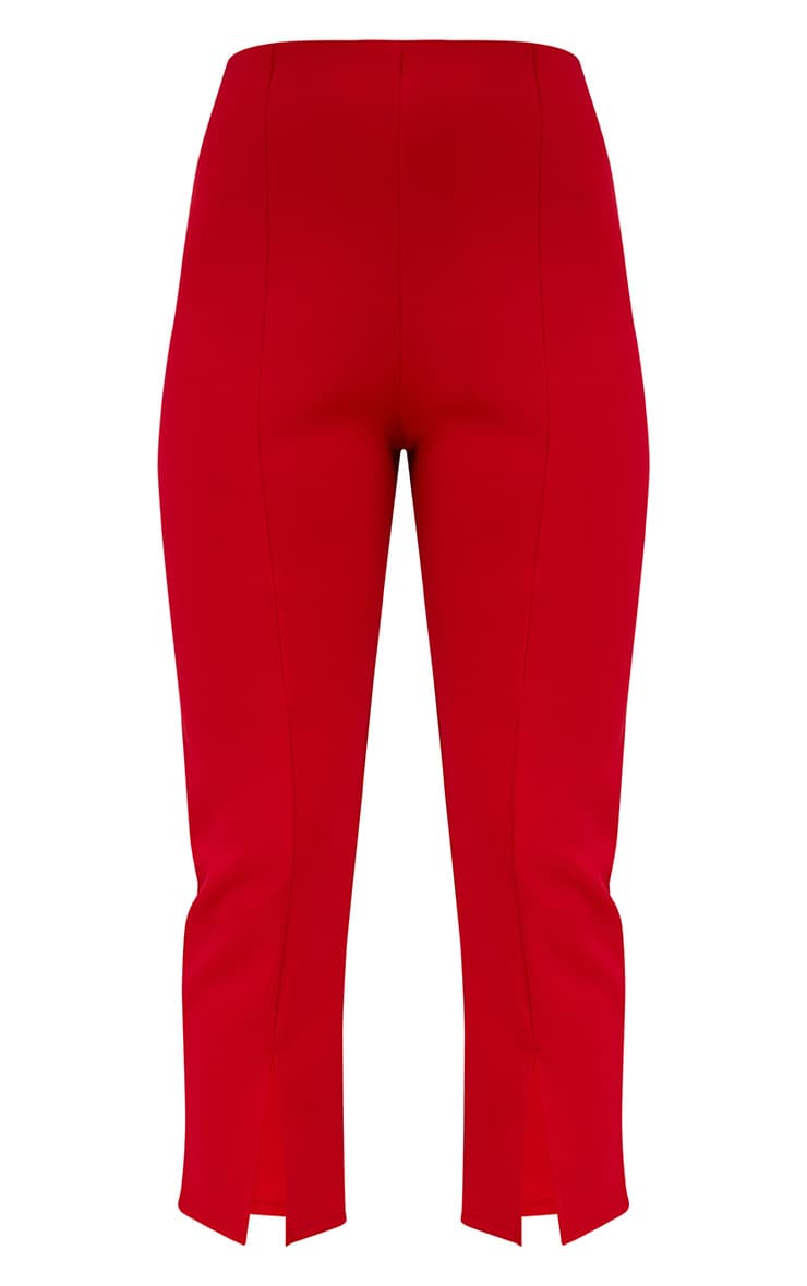 Red Front Split Straight Leg Trousers 3