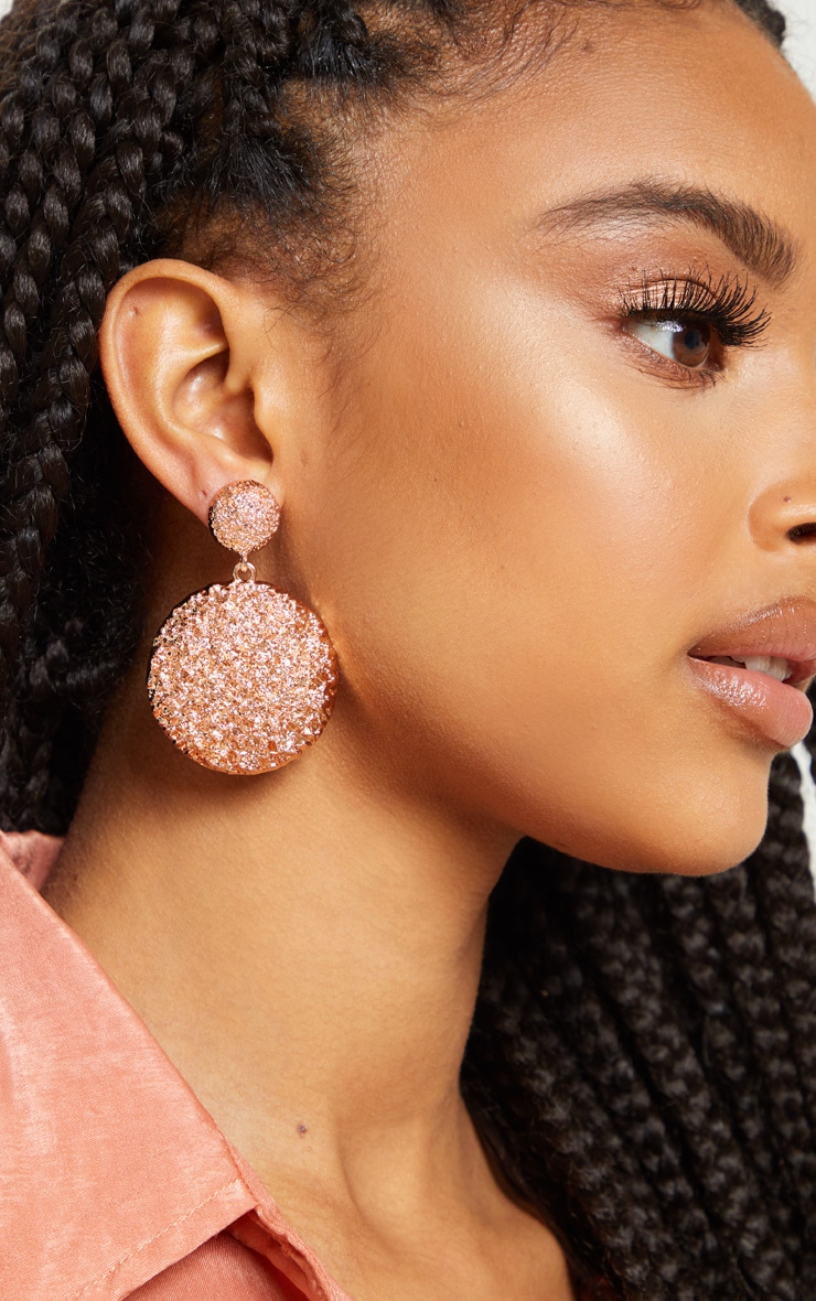 bd8ad93da Rose Gold Textured Domed Drop Earrings | PrettyLittleThing AUS