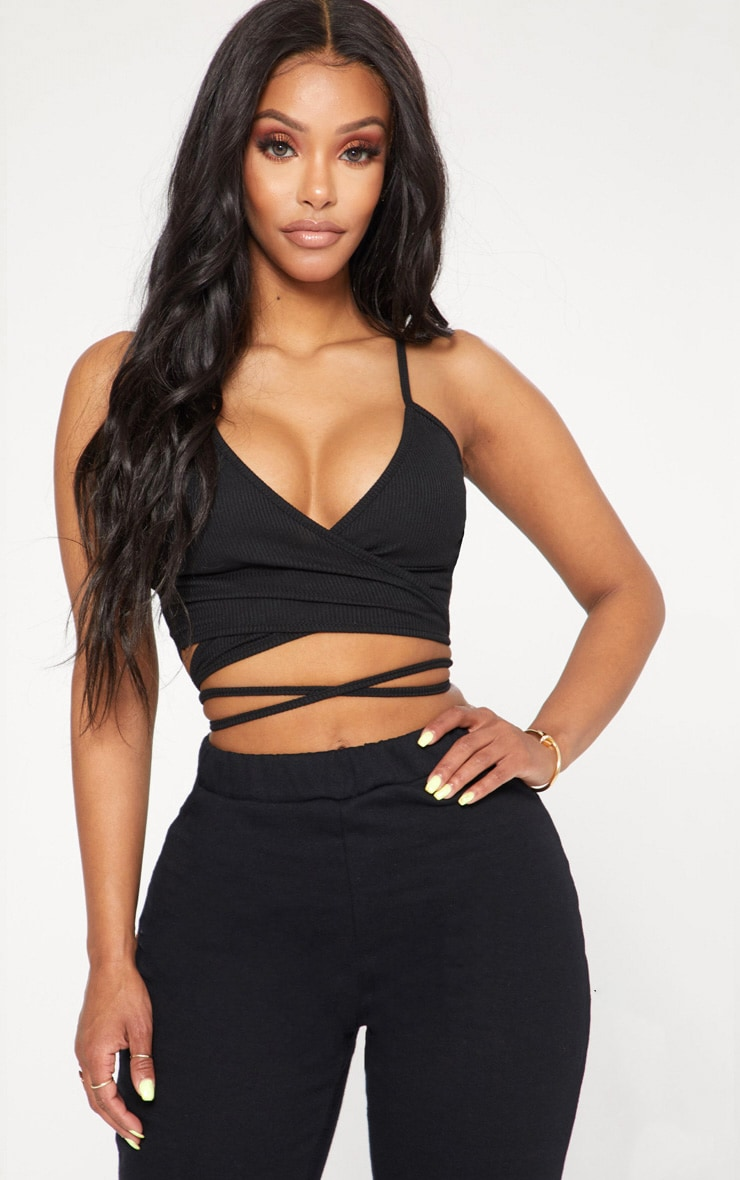 Shape Black Ribbed Wrap Waist Detail Crop Top 1