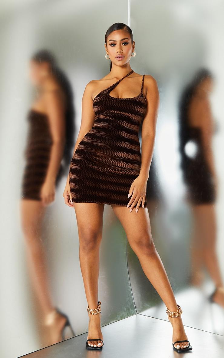 Brown Geometric Velvet Asymmetric Strap Bodycon Dress 1