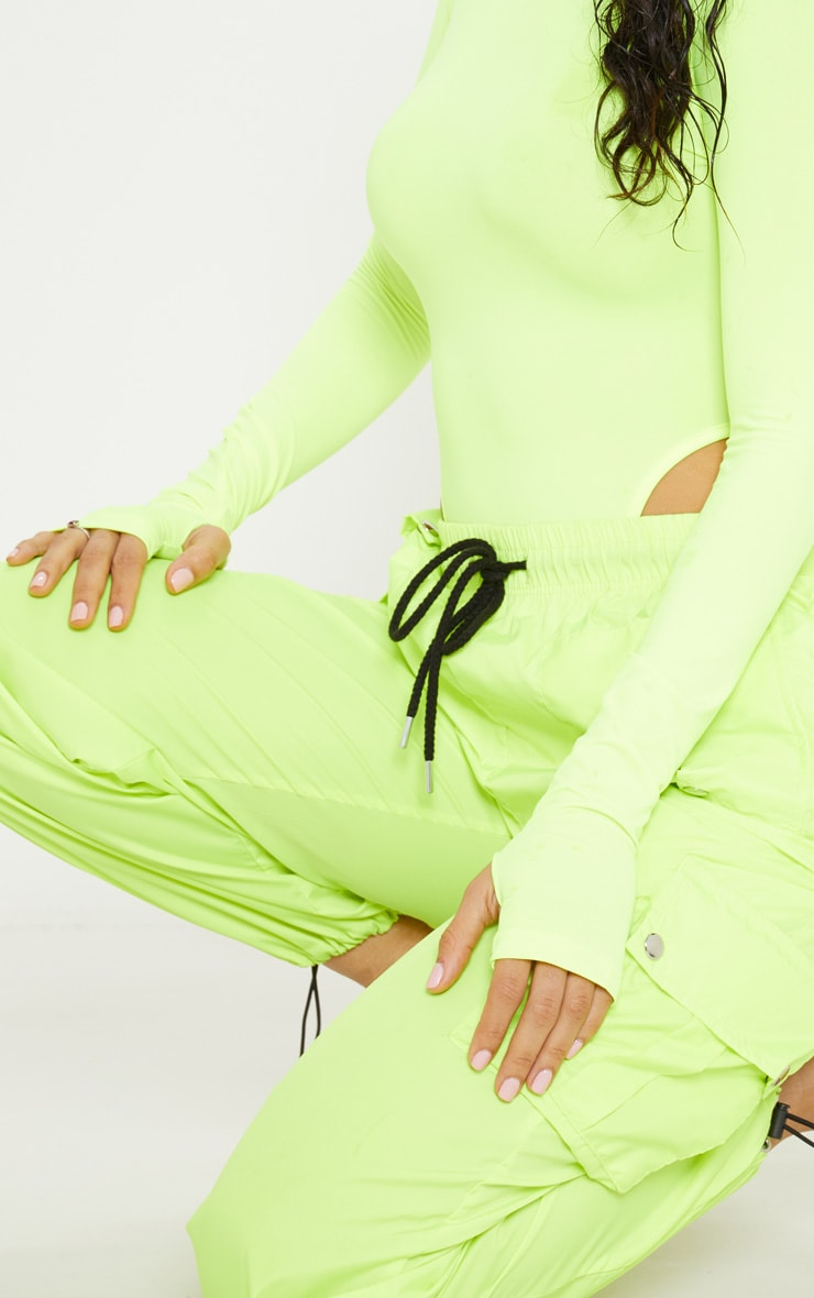 Neon Yellow Slinky High Neck Long Sleeve Bodysuit  6