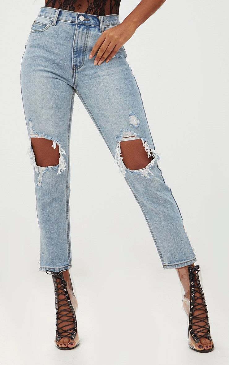Light Wash Open Knee Step Hem Mom Jean 2