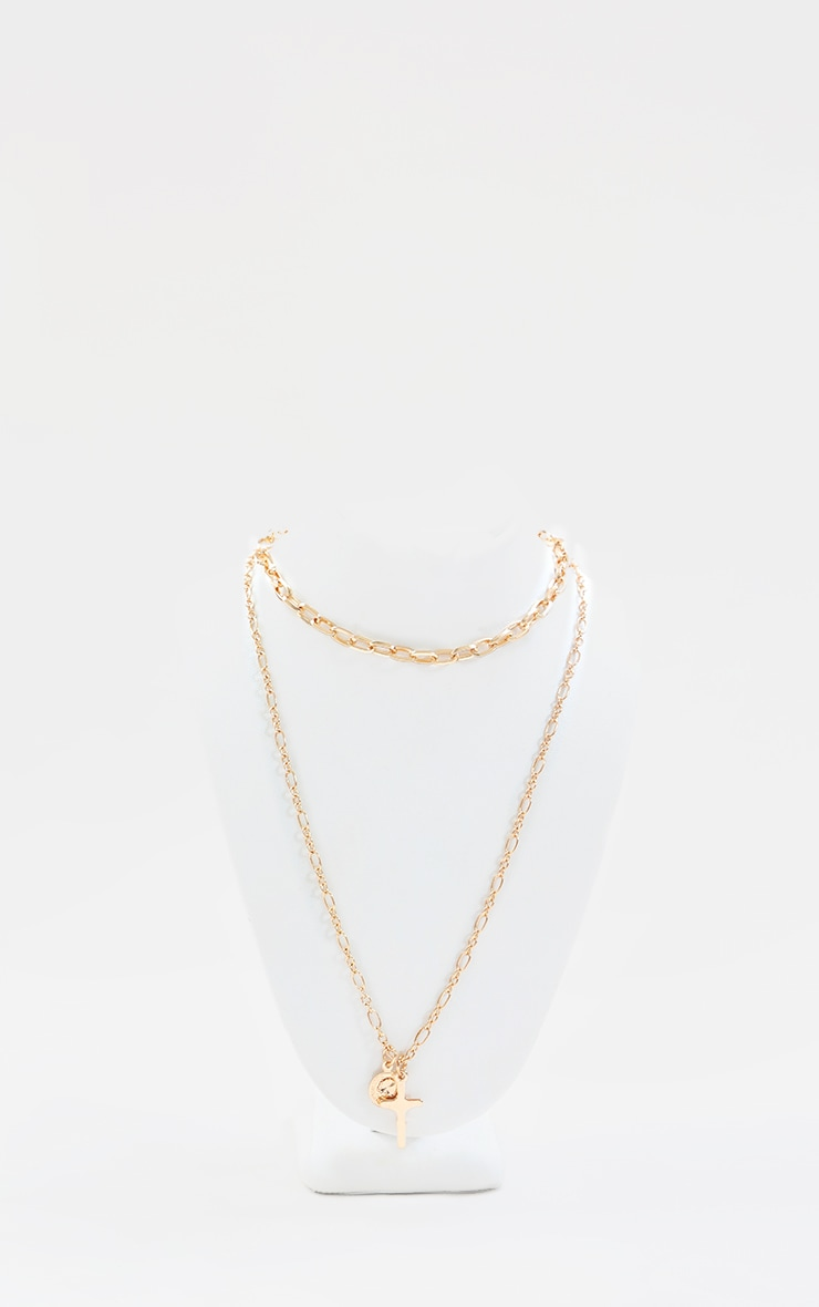 Gold Cross And Coin Layering Chain Necklace 2