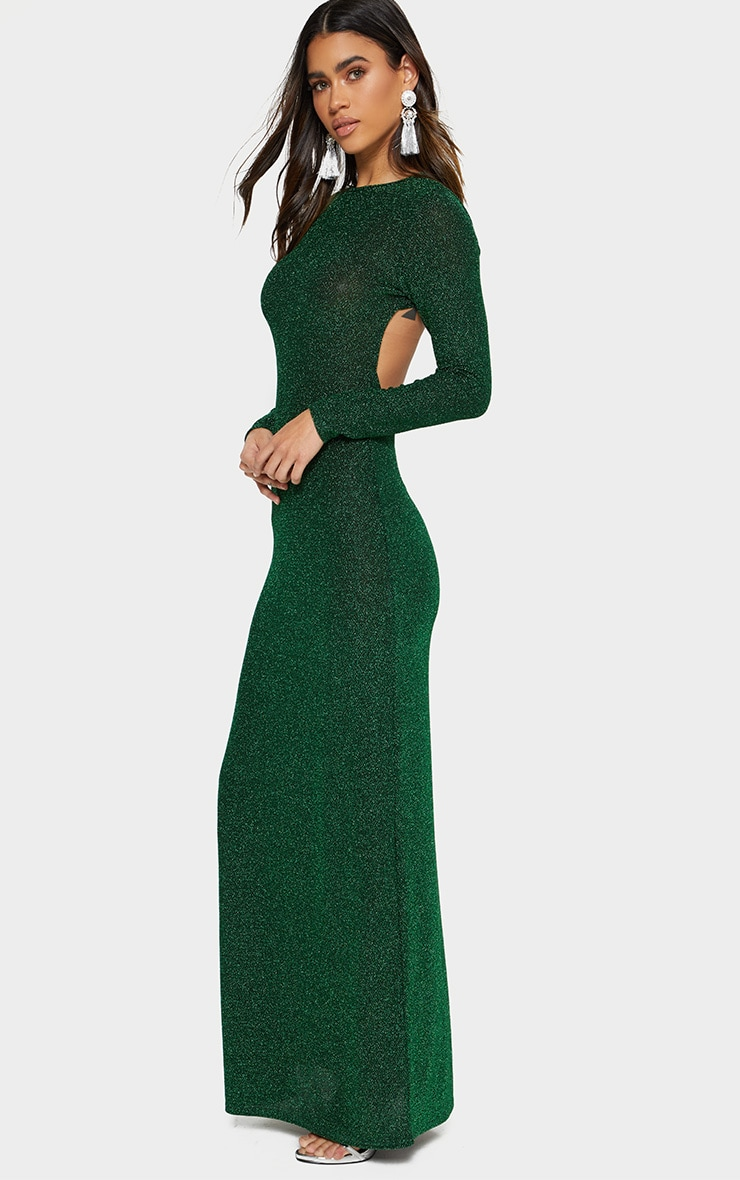 Green Glitter Long Sleeve High Neck Backless Maxi Dress 3